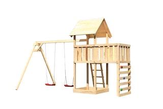 Akubi Kinderspielturm Lotti inkl. Doppelschaukel, Anbauplattform und Kletterwand