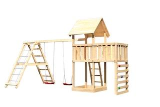 Akubi Kinderspielturm Lotti inkl. Doppelschaukel, Klettergerüst, Anbauplattform und Kletterwand