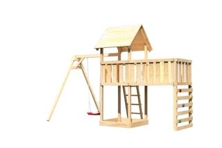 Akubi Kinderspielturm Lotti inkl. Einzelschaukel, Anbauplattform XL und Kletterwand
