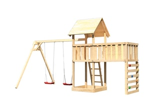 Akubi Kinderspielturm Lotti inkl. Doppelschaukel, Anbauplattform XL und Kletterwand