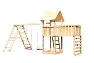 Akubi Kinderspielturm Lotti inkl. Doppelschaukel, Klettergerüst, Anbauplattform XL und Kletterwand