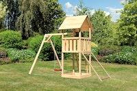 Akubi Kinderspielturm Lotti inkl. Einzelschaukel und Netzrampe