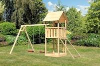 Akubi Kinderspielturm Lotti inkl. Doppelschaukel und Netzrampe
