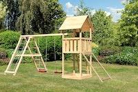 Akubi Kinderspielturm Lotti inkl. Doppelschaukel, Klettergerüst und Netzrampe