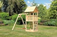 Akubi Kinderspielturm Lotti inkl. Einzelschaukel und Kletterwand