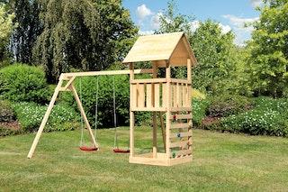 Akubi Kinderspielturm Lotti inkl. Doppelschaukel und Kletterwand