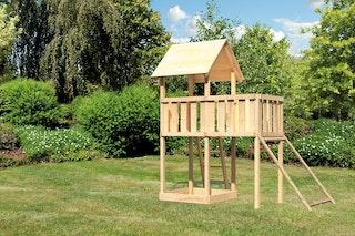 Akubi Kinderspielturm Lotti inkl. Anbauplattform und Netzrampe