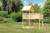Akubi Kinderspielturm Lotti inkl. Anbauplattform XL und Netzrampe