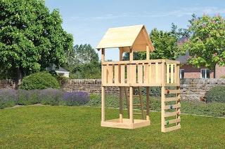 Akubi Kinderspielturm Lotti inkl. Anbauplattform und Kletterwand
