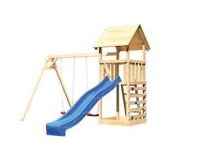 Akubi Kinderspielturm Lotti mit Satteldach inkl. Wellenrutsche, Doppelschaukelanbau und Kletterwand
