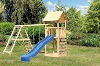 Akubi Kinderspielturm Lotti mit Satteldach inkl. Wellenrutsche, Doppelschaukelanbau, Klettergerüst und Kletterwand