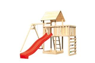 Akubi Kinderspielturm Lotti mit Satteldach inkl. Wellenrutsche, Einzelschaukelanbau, Anbauplattform und Kletterwand