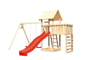 Akubi Kinderspielturm Lotti mit Satteldach inkl. Wellenrutsche, Doppelschaukelanbau, Anbauplattform und Kletterwand