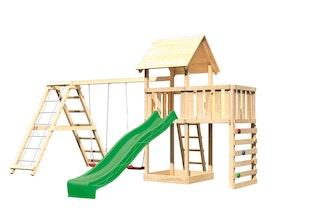 Akubi Kinderspielturm Lotti mit Satteldach inkl. Wellenrutsche, Doppelschaukelanbau, Klettergerüst, Anbauplattform und Kletterwand