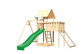 Akubi Kinderspielturm Lotti mit Satteldach inkl. Wellenrutsche, Einzelschaukelanbau, Anbauplattform und Netzrampe