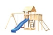 Akubi Kinderspielturm Lotti mit Satteldach inkl. Wellenrutsche, Doppelschaukelanbau, Anbauplattform und Netzrampe