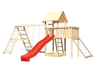 Akubi Kinderspielturm Lotti mit Satteldach inkl. Wellenrutsche, Doppelschaukelanbau, Klettergerüst, Anbauplattform und Netzrampe