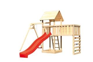 Akubi Kinderspielturm Lotti mit Satteldach inkl. Wellenrutsche, Einzelschaukelanbau, Anbauplattform XL und Kletterwand