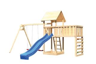 Akubi Kinderspielturm Lotti mit Satteldach inkl. Wellenrutsche, Doppelschaukelanbau, Anbauplattform XL und Kletterwand