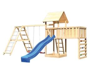 Akubi Kinderspielturm Lotti mit Satteldach inkl. Wellenrutsche, Doppelschaukelanbau, Klettergerüst, Anbauplattform XL und Kletterwand