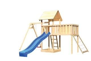 Akubi Kinderspielturm Lotti mit Satteldach inkl. Wellenrutsche, Einzelschaukelanbau, Anbauplattform XL und Netzrampe