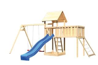 Akubi Kinderspielturm Lotti mit Satteldach inkl. Wellenrutsche, Doppelschaukelanbau, Anbauplattform XL und Netzrampe