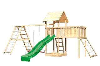Akubi Kinderspielturm Lotti mit Satteldach inkl. Wellenrutsche, Doppelschaukelanbau, Klettergerüst, Anbauplattform XL und Netzrampe