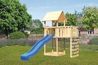 Akubi Kinderspielturm Lotti inkl. Anbauplattform, Rutsche und Kletterwand