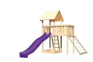 Akubi Kinderspielturm Lotti inkl. Anbauplattform, Rutsche und Netzrampe