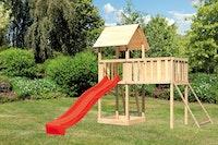 Akubi Kinderspielturm Lotti inkl. Anbauplattform XL, Rutsche und Netzrampe