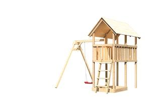 Akubi Kinderspielturm Danny inkl. Einzelschaukelanbau