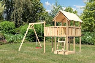 Akubi Kinderspielturm Danny inkl. Einzelschaukelanbau und Anbauplattform