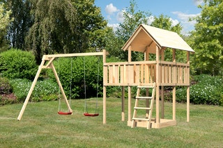 Akubi Kinderspielturm Danny inkl. Doppelschaukelanbau und Anbauplattform