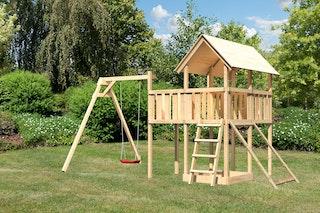 Akubi Kinderspielturm Danny inkl. Einzelschaukelanbau, Anbauplattform und Netzrampe