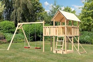 Akubi Kinderspielturm Danny inkl. Doppelschaukelanbau, Anbauplattform und Netzrampe