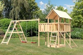 Akubi Kinderspielturm Danny inkl. Doppelschaukelgerüst, Anbauplattform und Netzrampe