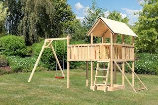Akubi Kinderspielturm Danny inkl. Einzelschaukelanbau, Anbauplattform XL und Netzrampe