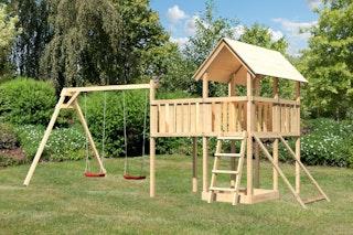 Akubi Kinderspielturm Danny inkl. Doppelschaukelanbau, Anbauplattform XL und Netzrampe
