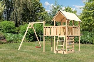 Akubi Kinderspielturm Danny inkl. Einzelschaukelanbau, Anbauplattform und Kletterwand