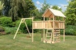 Akubi Kinderspielturm Danny inkl. Einzelschaukelanbau, Anbauplattform XL und Kletterwand