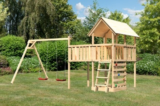 Akubi Kinderspielturm Danny inkl. Doppelschaukelanbau, Anbauplattform XL und Kletterwand