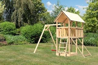 Akubi Kinderspielturm Danny inkl. Einzelschaukelanbau und Netzrampe