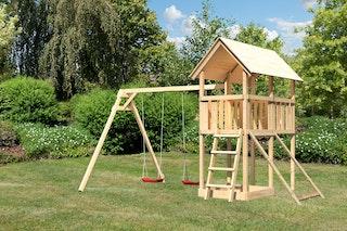 Akubi Kinderspielturm Danny inkl. Doppelschaukelanbau und Netzrampe