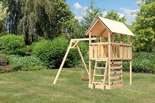 Akubi Kinderspielturm Danny inkl. Einzelschaukelanbau und Kletterwand