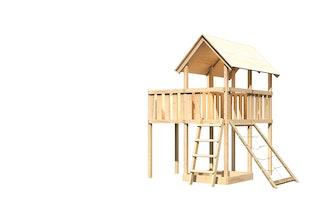 Akubi Kinderspielturm Danny mit Anbauplattform und Netzrampe