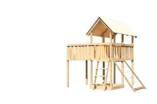 Akubi Kinderspielturm Danny mit Anbauplattform XL und Netzrampe