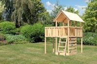 Akubi Kinderspielturm Danny mit Anbauplattform und Kletterwand