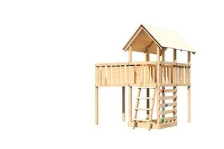 Akubi Kinderspielturm Danny mit Anbauplattform XL und Kletterwand