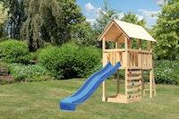 Akubi Kinderspielturm Danny mit Wellenrutsche und Kletterwand
