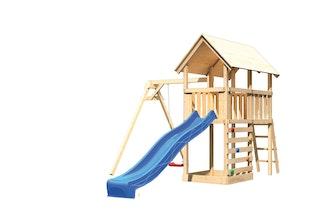 Akubi Kinderspielturm Danny mit Wellenrutsche, Einzelschaukelanbau und Kletterwand